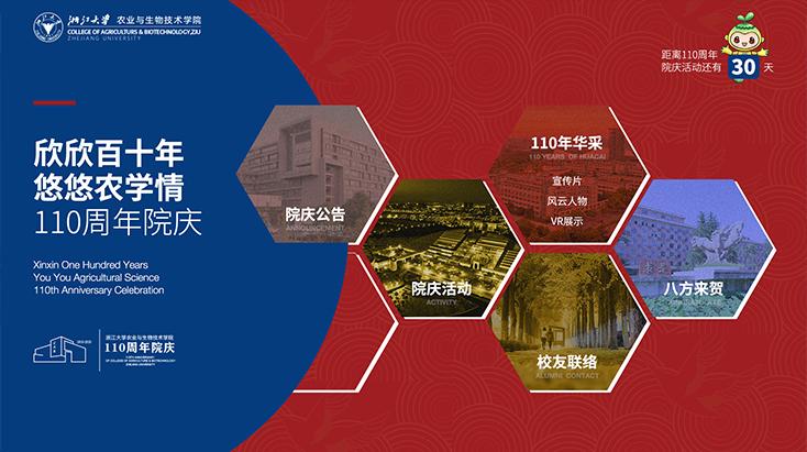 浙江大学农业与生物技术学院110周年院庆网站设计